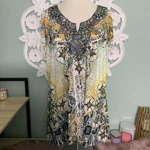 PLUS 2X Yellow floral short sleeve blouse